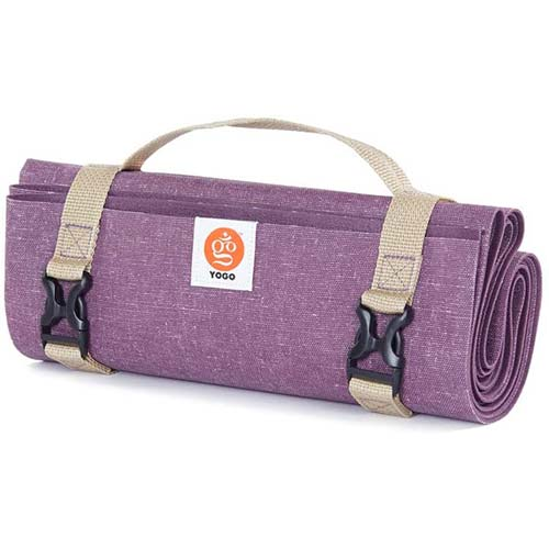 4. YOGO Ultralight Travel Yoga Mat - with Attached Carrying Strap - Foldable Lightweight Thin Yoga Mat