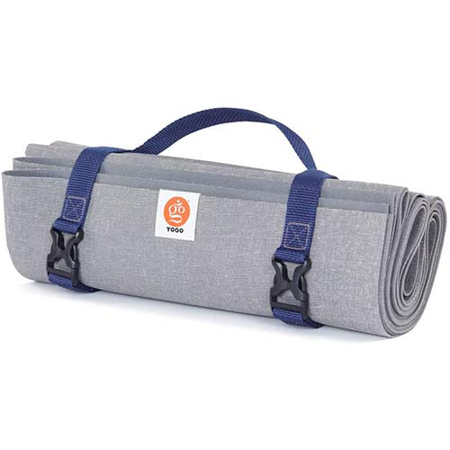 9. YOGO Ultralight Long Travel Yoga Mat - with Attached Carrying Strap - Foldable Lightweight Thin Yoga Mat