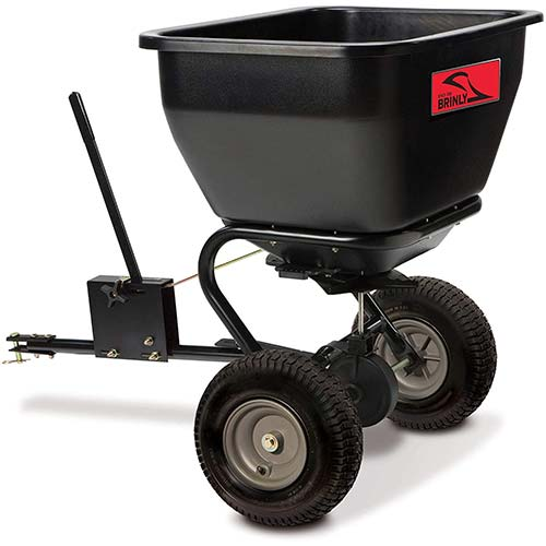 6. Brinly BS36BH, Black, 175 lbs Tow-Behind Broadcast Spreader