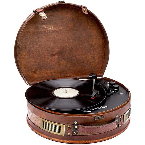 10. ClearClick Vintage Suitcase Turntable