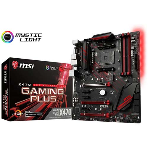 4. MSI Performance Gaming AMD X470 Ryzen 2 AM4 DDR4 Onboard Graphics CFX ATX Motherboard (X470 Gaming Plus)