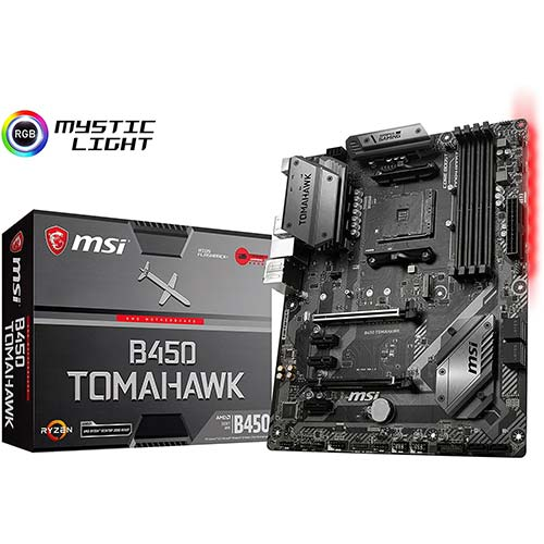 2. MSI Arsenal Gaming AMD Ryzen 1st and 2nd Gen AM4 M.2 USB 3 DDR4 DVI HDMI Crossfire ATX Motherboard (B450 Tomahawk)