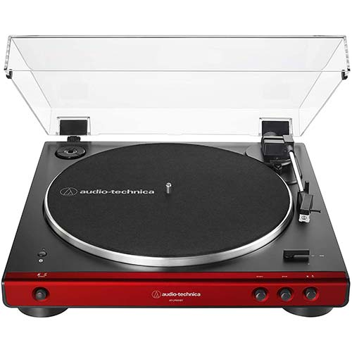9. Audio-Technica AT-LP60XBT-RD Fully Automatic Belt-Drive Stereo Turntable