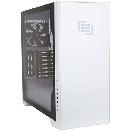 10. MAINGEAR Vybe RGB Tempered Glass ATX Mid-Tower Gaming Computer Case - Liquid Cooling Ready - White
