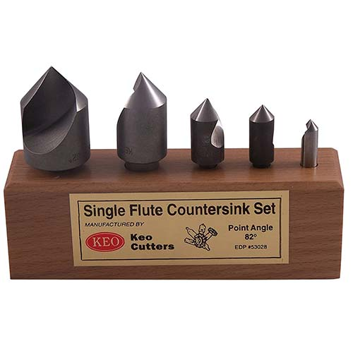 7. KEO 53028 High-Speed Steel Single-End Countersink Set, Uncoated (Bright) Finish, Single Flute
