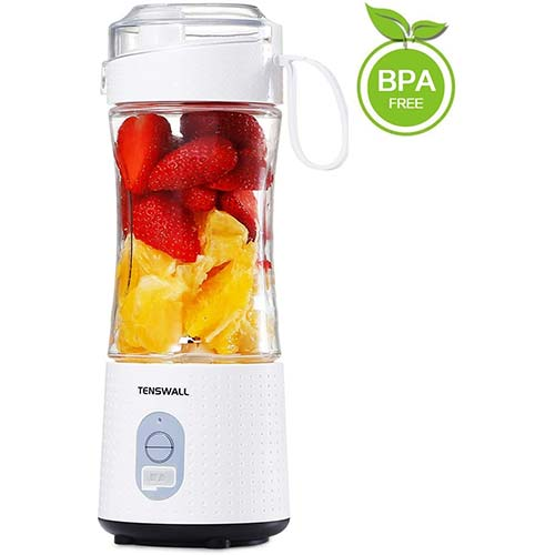 2. Tenswall Portable, Personal Size Smoothies and Shakes, Handheld Fruit Machine 13oz USB Rechargeable Juicer Cup