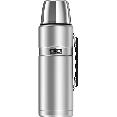 5. Thermos Stainless King 68 Ounce Vacuum Insulated Beverage Bottle with Handle, Stainless Steel