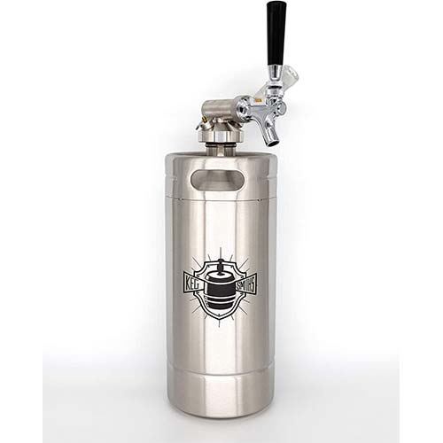 9. Keg Smiths 128 oz Portable Draft Keg System | CO2 Regulated | Stainless Steel Keg | 8 Pint | Mini Keg Draft System