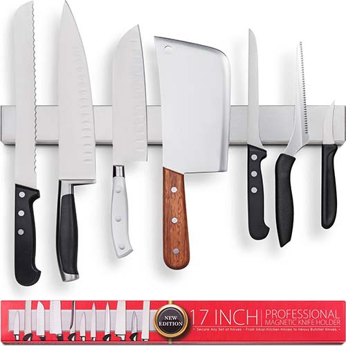 10. Premium 17 Inch Stainless Steel Magnetic Knife Holder – Professional Magnetic Knife Strip