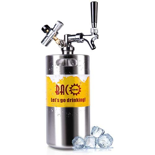 3. BACOENG 128 Ounce Pressurized Keg Growler, Kegerator for Home Brew Beer with Updated CO2 Regulator