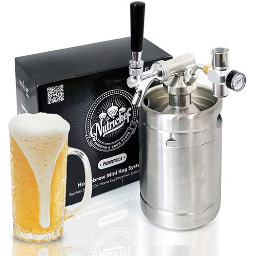 2. Pressurized Beer Mini Keg System - 64oz Stainless Steel Growler Tap, Portable Mini Keg Dispenser Kegerator Kit