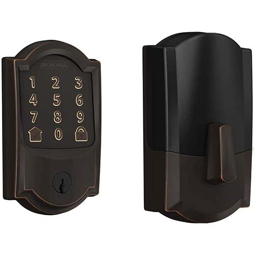 1. Schlage Encode Smart WiFi Deadbolt with Camelot Trim in Aged Bronze (BE489WB CAM 716)
