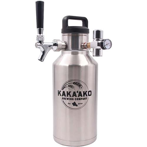 8. Kakaako Brewing Co - 64 oz Pressurized Growler and Dispenser Tapping System with CO2 Regulator and Faucet
