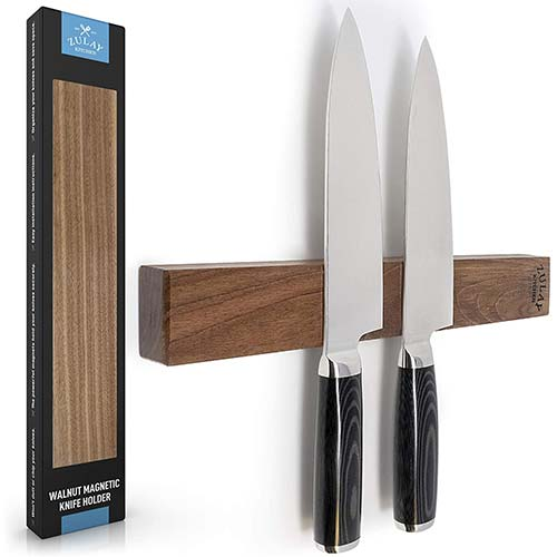 2. Zulay Seamless Walnut Wood Magnetic Knife Holder - Powerful Wood Magnetic Knife Strip
