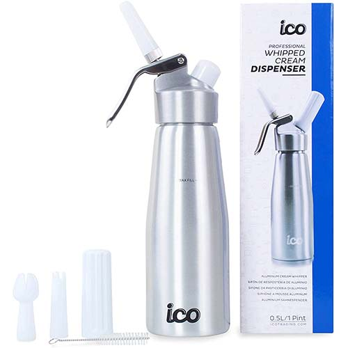 5. ICO Professional Whipped Cream Dispenser for Delicious Homemade Whipped Creams, Sauces, Desserts, and Infused Liquors