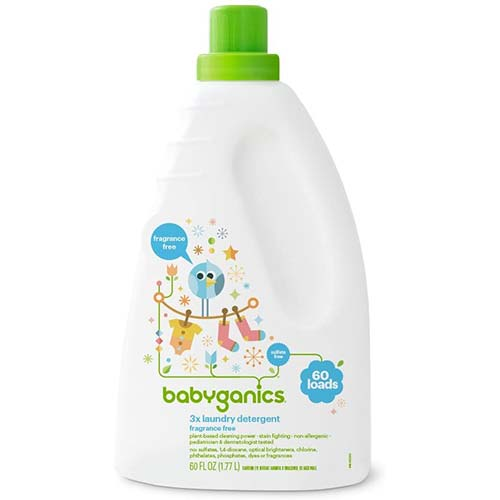 6. Babyganics Liquid Baby Laundry Detergent, Fragrance Free, 3X Concentrated