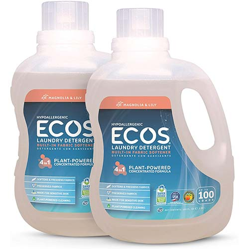 1. Earth Friendly Products ECOS 2X Liquid Laundry Detergent, Magnolia & Lily