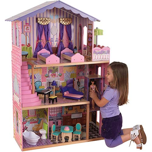 7. KidKraft My Dream Mansion Wooden Dollhouse with New Gliding Elevator and 13 P