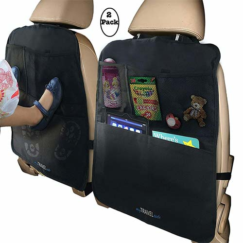2. MyTravelAide Car Backseat Organizer Kick Mats (2 Pack) with XL Storage Pockets for Tablets