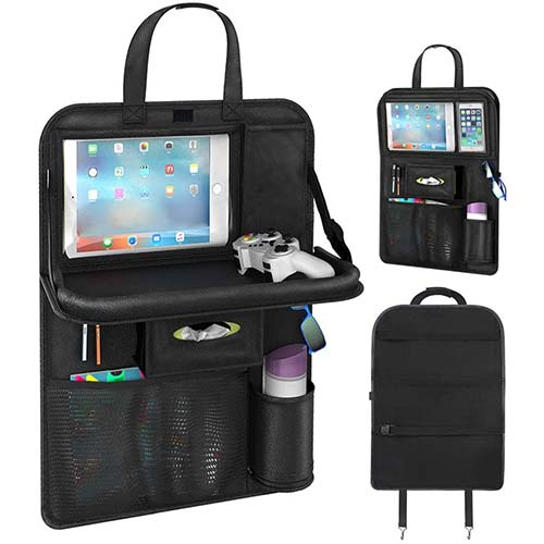 7. Pushingbest Car Seat Back Organizer, Foldable Car Dining Table Touch Screen Tablet Holder Bottles Holder Multifunctional Car Back Seat Organizer