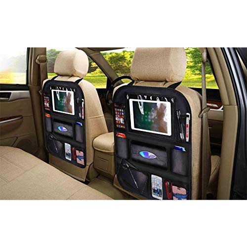 8. Patas Lague Luxury Car Backseat Organizer, 8 Storage Pockets Pu Leather Back Seat Protector with Cup Holder
