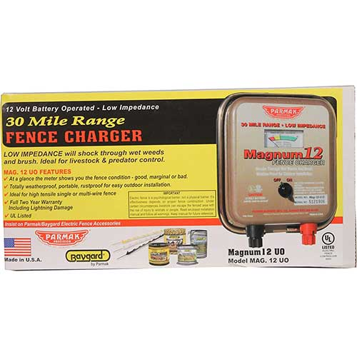 7. Parmak MAG12-UO 12-Volt Magnum Low Impedance Battery Operated 30-Mile Range Electric Fence Charger