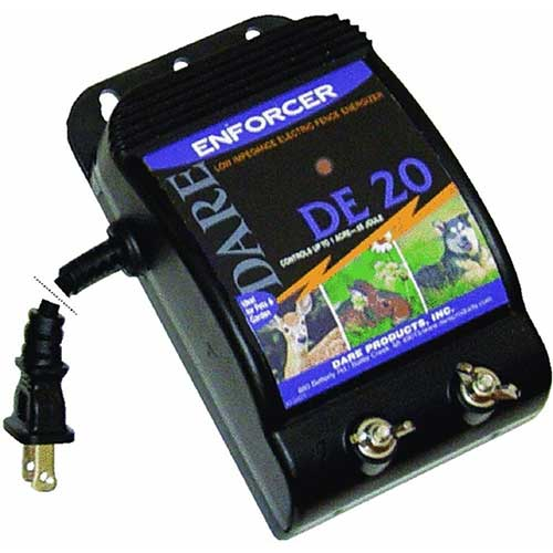 10. Dare Products Enforcer DE20 Ultra Low Impedance 110V Plug-In Electric Fence Energizer for Dogs and Garden Animals