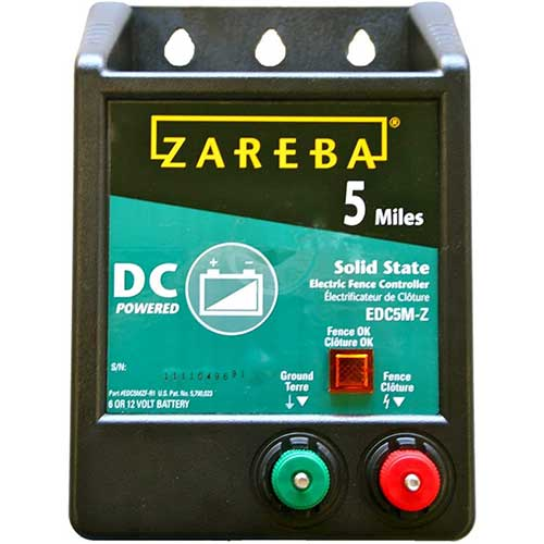 1. Zareba EDC5M-Z 5-Mile Battery Operated Solid State Electric Fence Charger
