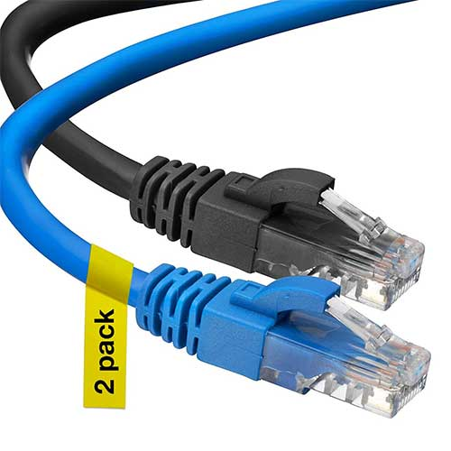 10. Cat6 Ethernet Cable, 3 Feet (2 Pack) LAN, utp (0.9 Meters) Cat 6, RJ45, Network, Patch, Internet Cable
