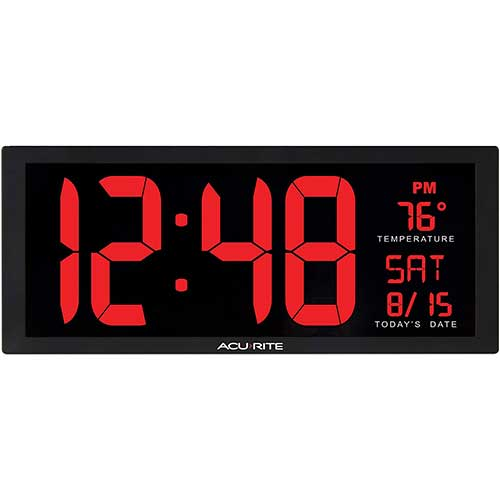 1. AcuRite 75127M 14.5 Inch Large Red Oversized LED Clock with Indoor Temperature, Date and Kickstand (75172MDI)