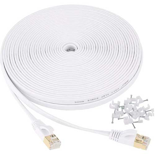 Best Ethernet Cables for Streaming 2. Cat 7 Ethernet Cable 25 ft Shielded - Solid Flat Internet Network Computer Patch Cord, High Speed LAN Wire