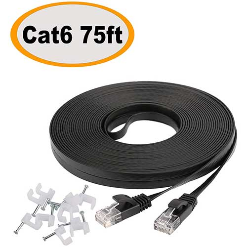 9. Cat 6 Ethernet Cable 75 ft, Long Flat Internet Network LAN Patch Cord, Faster Than Cat5e/Cat5