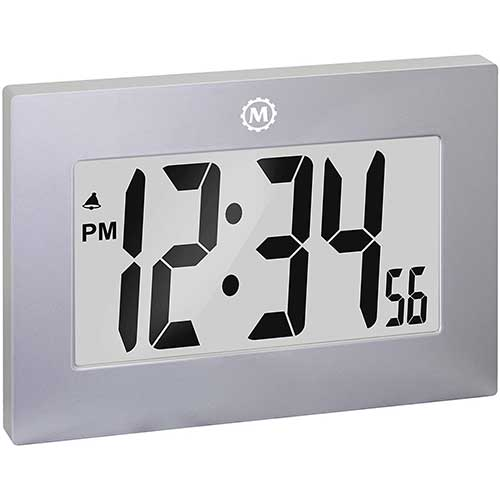 2. Marathon Large Digital Wall Clock with Fold-Out Table Stand. Size is 9 inches with Big 3.25 Inch Digits