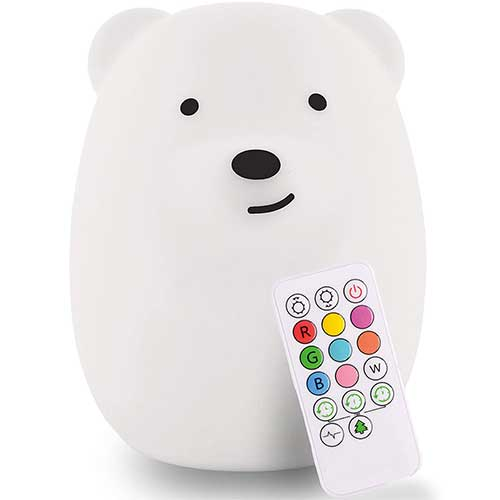 4. LED Nursery Bear Night Light for Kids LumiPets Cute Animal Silicone Baby Night Light with Touch Sensor