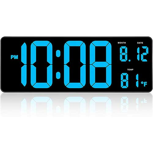 5. DreamSky 14.5 Inches Extra Large LED Digital Clock with Date Indoor Temperature Display, Oversized Desk Office Wall Clock