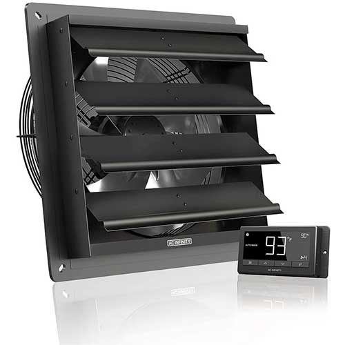 6. AC Infinity AIRLIFT T12, Shutter Exhaust Fan 12-inch with Temperature Humidity Controller