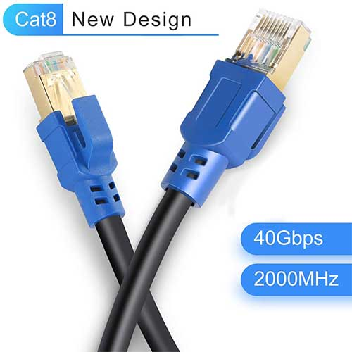 7. Cat8 Ethernet Cable 10ft, LDKCOK Internet Network Cord, 40Gbps 2000Mhz LAN Wires, High Speed S/FTP LAN Cables