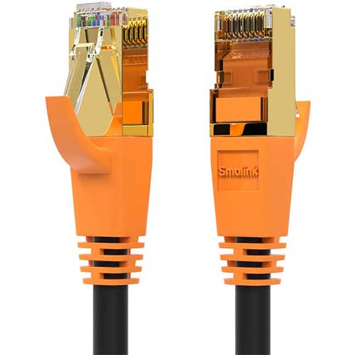 5. Network Cable, Shielded Ethernet Cable, Cat8 10ft 2pack Cable, Gold Plated RJ45 Connectors, 26AWG Cat8 Network Cable