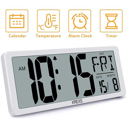 9. XREXS Large Digital Wall Clock, Electronic Alarm Clocks for Bedroom Home Decor, Count Up & Down Timer