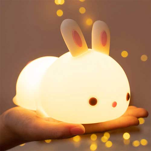 6. Cute Bunny Kids Night Light, Bunny Light Cute Lamp Battery Operated Nursery Toddler Night Lights