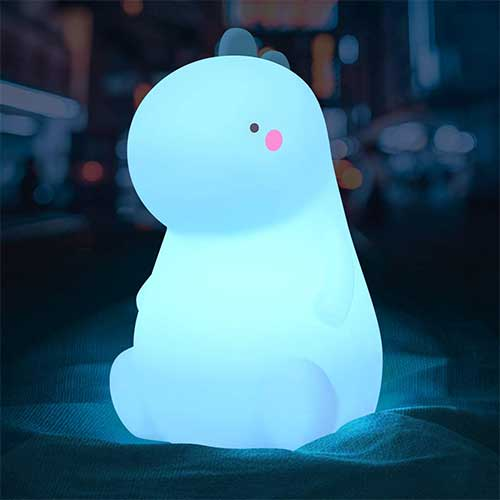 10. Dinosaur Night Light for Kids, Cute Color Changing Silicone Baby Night Light