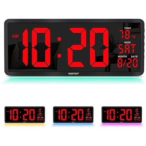"""6. YORTOT 16"""" Large Digital Wall Clock with 7 Color Decor Night Light, 4 Level Brightness Dimmer, Remote Control"""
