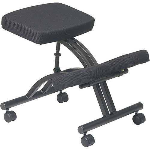 10. Office Star Ergonomically Designed Knee Chair with Casters, Memory Foam and Black Metal Base Black