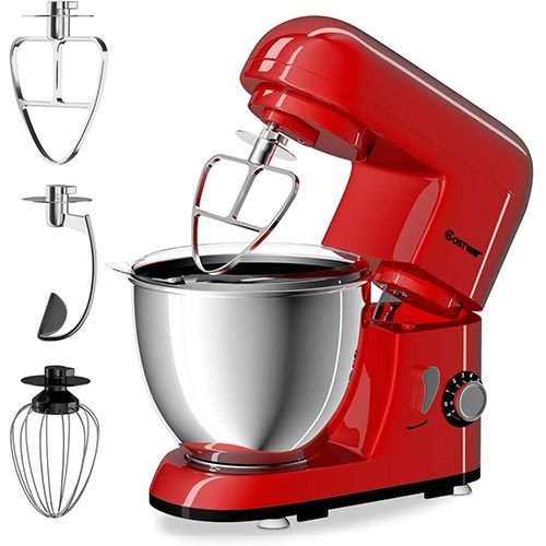 3. COSTWAY Stand Mixer 4.3 Quart 6-Speed 120V/550W Kitchenaid 3 Attachments Offer Tilt-head Electric Food Mixer w/Stainless Steel Bowl (Red)