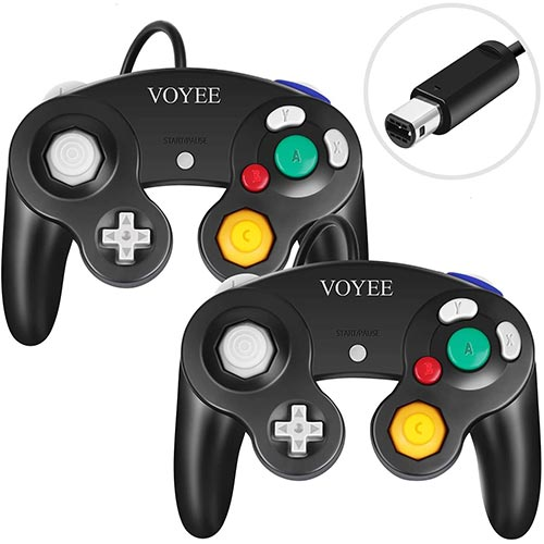 Best Third Party Gamecube Controllers 5. VOYEE Controller Replacement for Gamecube Controller, 2Pack Wired GC Gamepads Compatible with Nintendo Gamecube/Wii Console (Black)