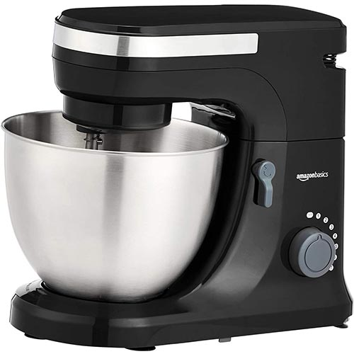 9. Amazon Basics Multi-Speed Stand Mixer with Attachments, Black