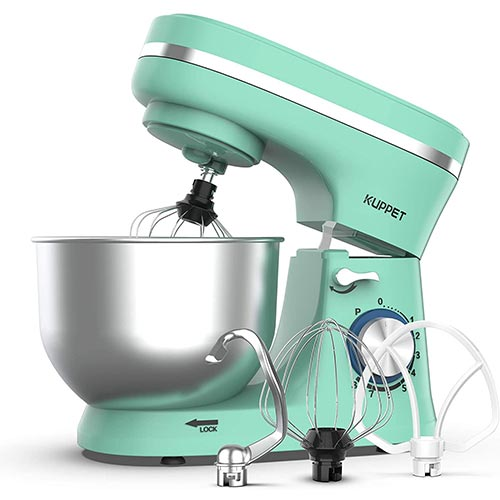 1. KUPPET Stand Mixer, 8-Speed Tilt-Head Electric Food Stand Mixer with Dough Hook, Wire Whip & Beater, Pouring Shield, 4.7QT Stainless Steel Bowl (Green)