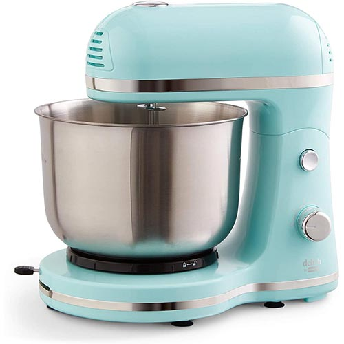 5. Delish by Dash Compact Stand Mixer 3.5 Quart with Beaters & Dough Hooks Included - Aqua, Blue (DCSM350GBBU02)
