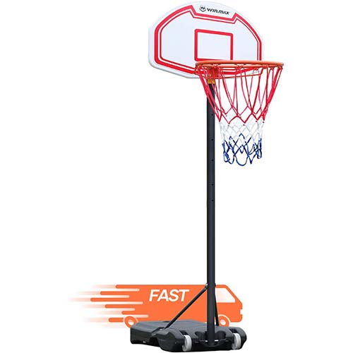4. WIN.MAX Portable Basketball Hoop Goal System for Trampoline Kids 5-6.8ft Adjustable18in Rim Indoor Outdoor Youth Teens